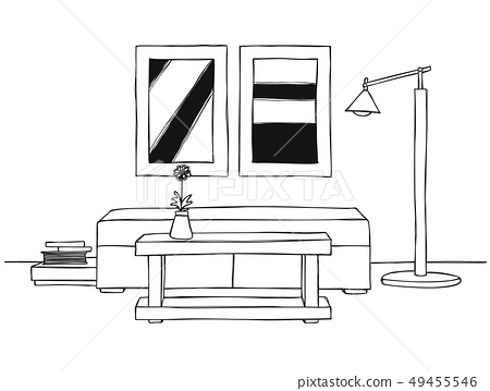 Linear sketch of an interior. 49455546