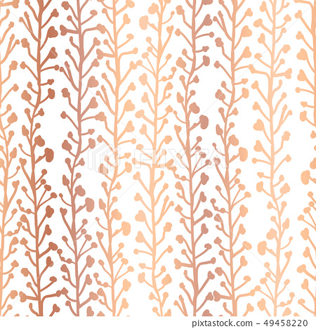 Rose Gold foil nature background. Seamless vector pattern of abstract plants in metallic copper 49458220