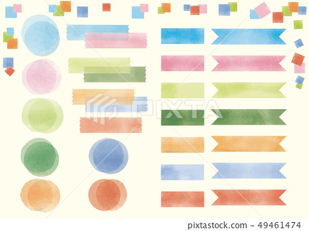 파스텔 풍의 봄 ~ 여름 다채로운 제목 마스킹 테이프 세트 49461474