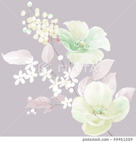 美麗的水彩玫瑰花和牡丹花 49461889