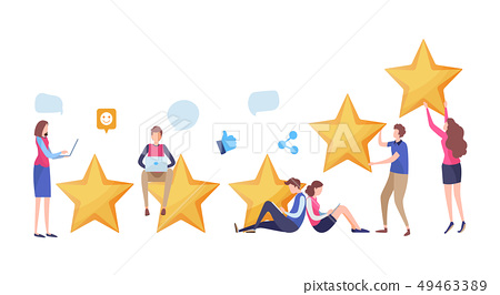 People's giving feedback five star rating. 49463389
