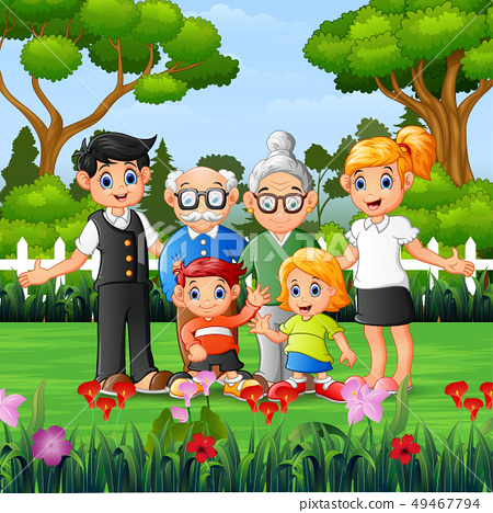 Happy family members are vacation in the park 49467794