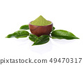 powder green tea and green tea leaf isolated on 49470317