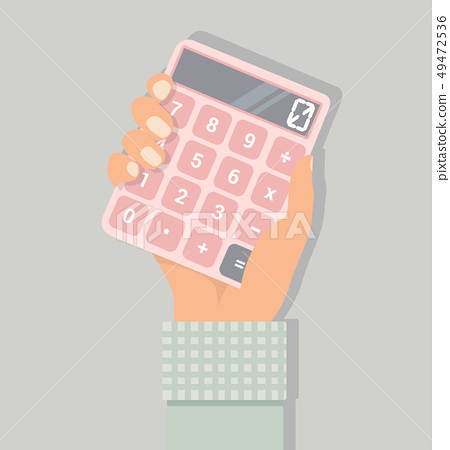 hand with a calculator vector 49472536