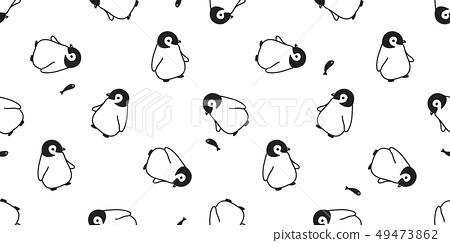 penguin Seamless pattern vector cartoon tuna fish 49473862