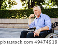 Recovery after Treatment. Man Sit in Wheelchair. 49474919