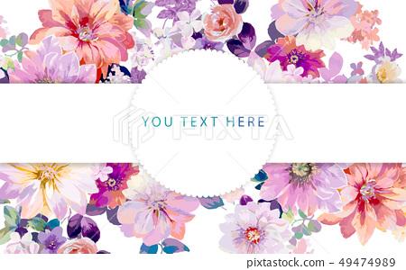 好看五顏六色的牡丹花玫瑰花插畫 49474989