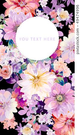 好看五顏六色的牡丹花玫瑰花插畫 49474996