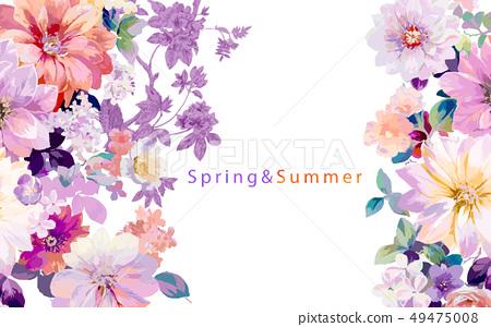 好看五顏六色的牡丹花玫瑰花插畫 49475008