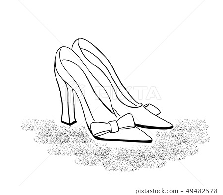 outline drawing of high heel classic shoes 49482578
