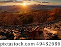 Beautiful sunset landscape with sun star 49482686