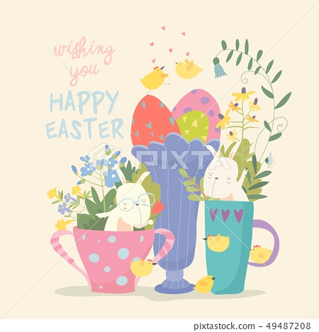 Cute little bunny in a cup. Rabbit in a mug with flowers and eggs 49487208