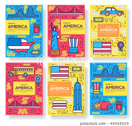 USA vector brochure cards thin line set 49488029