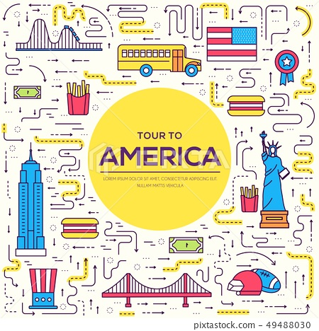 Country USA travel vacation guide of goods 49488030