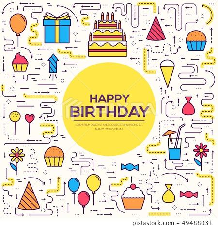 happy birthday set infographics template 49488031
