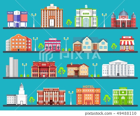 Flat colorful city buildings set. Icon background  49488110