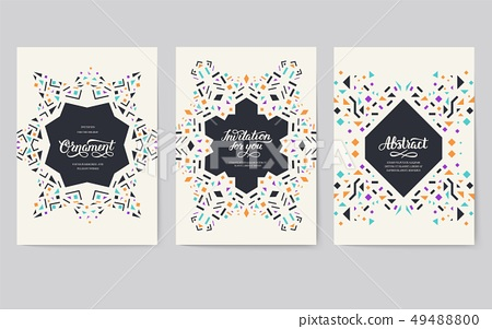 geometric abstract vector brochure cards set. 49488800