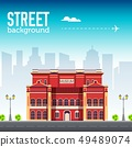 Museum building in city space with road. 49489074