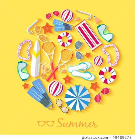 summer vacation time background  circle. 49489278