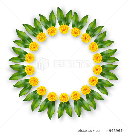 Indian floral wreath. 49489634