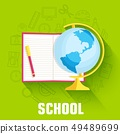 school concept globe with notepad icon. 49489699