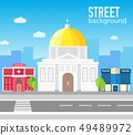 church building in city space with road. 49489972