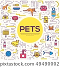 Vector thin line breed cats icons set.  49490002