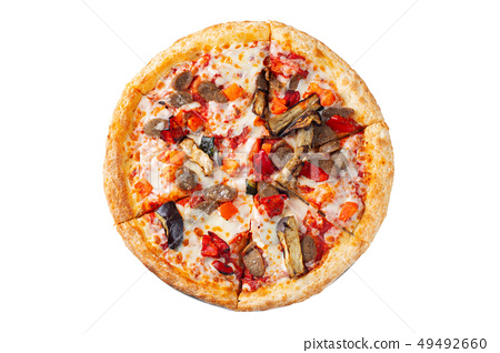 Pizza with vegetables isolated on white background 49492660