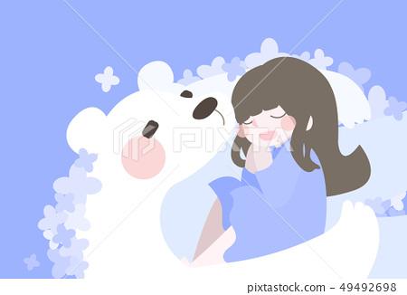 Bear and girl 49492698