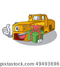 With gift locomotive mine isolated in the mascot 49493696