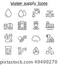 Water supply system icon set in thin line style 49499270