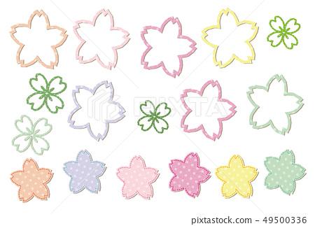 벚꽃과 클로버 봄빛 물방울 도트 무늬 파스텔 아플리케 문장 49500336