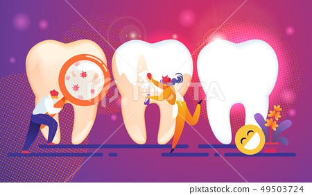 Dental Care Tiny People Characters Concept. Teeth. 49503724