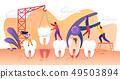 Tiny People Characters Treating Disease Teeth. 49503894