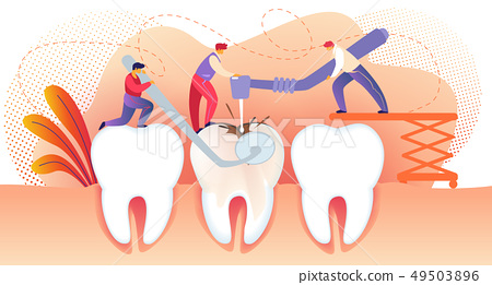 Little People Drilling Unhealthy Tooth with Caries 49503896