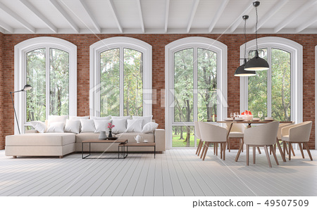 Scandinavian living and dining room 3d render 49507509