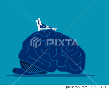 Brain relax. Robot relax on top of large brain. 49508191
