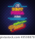 Pizza sign collection  - Neon Sign Vector on brick 49508878
