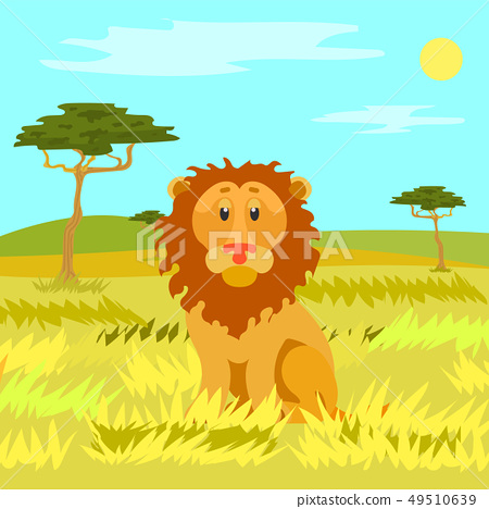 Lion Sitting Calmly on Dry Grass, Wild Nature 49510639