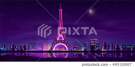 Paris night streets cartoon vector background 49510987