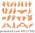 set of various hands gestures 49517382