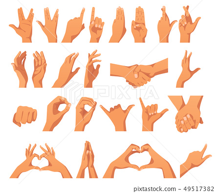 set of various hands gestures 49517382