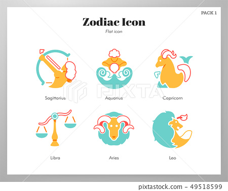 Zodiac icon flat pack 49518599