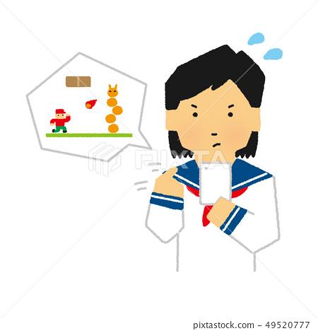학생, 중고생, 여성, 스마호게무, 스마트 폰, 게임, 응용 프로그램 (간단한 터치) 49520777