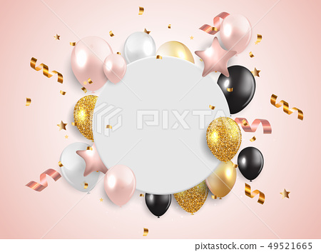 Glossy Happy Birthday Balloons Background Vector Illustration 49521665
