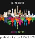 Europe famous Landmark paper art. Global Travel 49521829
