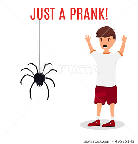 Madly frightened man. Boy afraid of a spider hanging from the top. Prank concept. Colorful flat 49525142