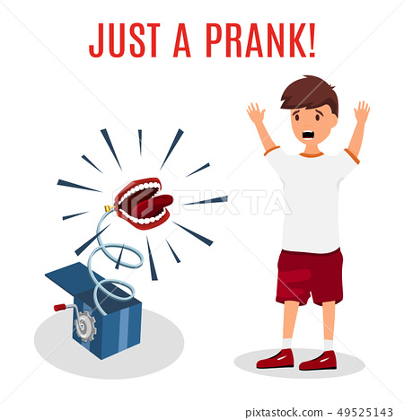 Madly frightened man. Boy afraid the box. Prank concept. Colorful flat style cartoon vector 49525143