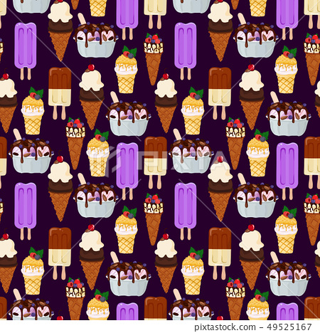 Vector pattern with ice cream. 49525167