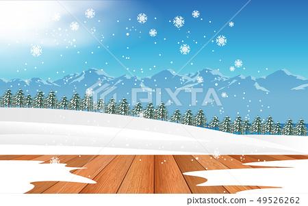 wooden floor with snow background 49526262